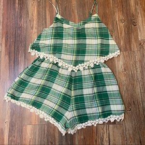 NWT Plaid Romper with Crochet Trim